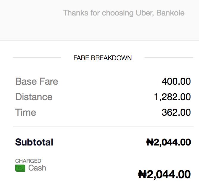 The return leg. I paid N2100, because no time.