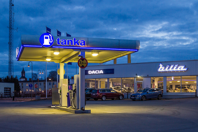 petrol station night