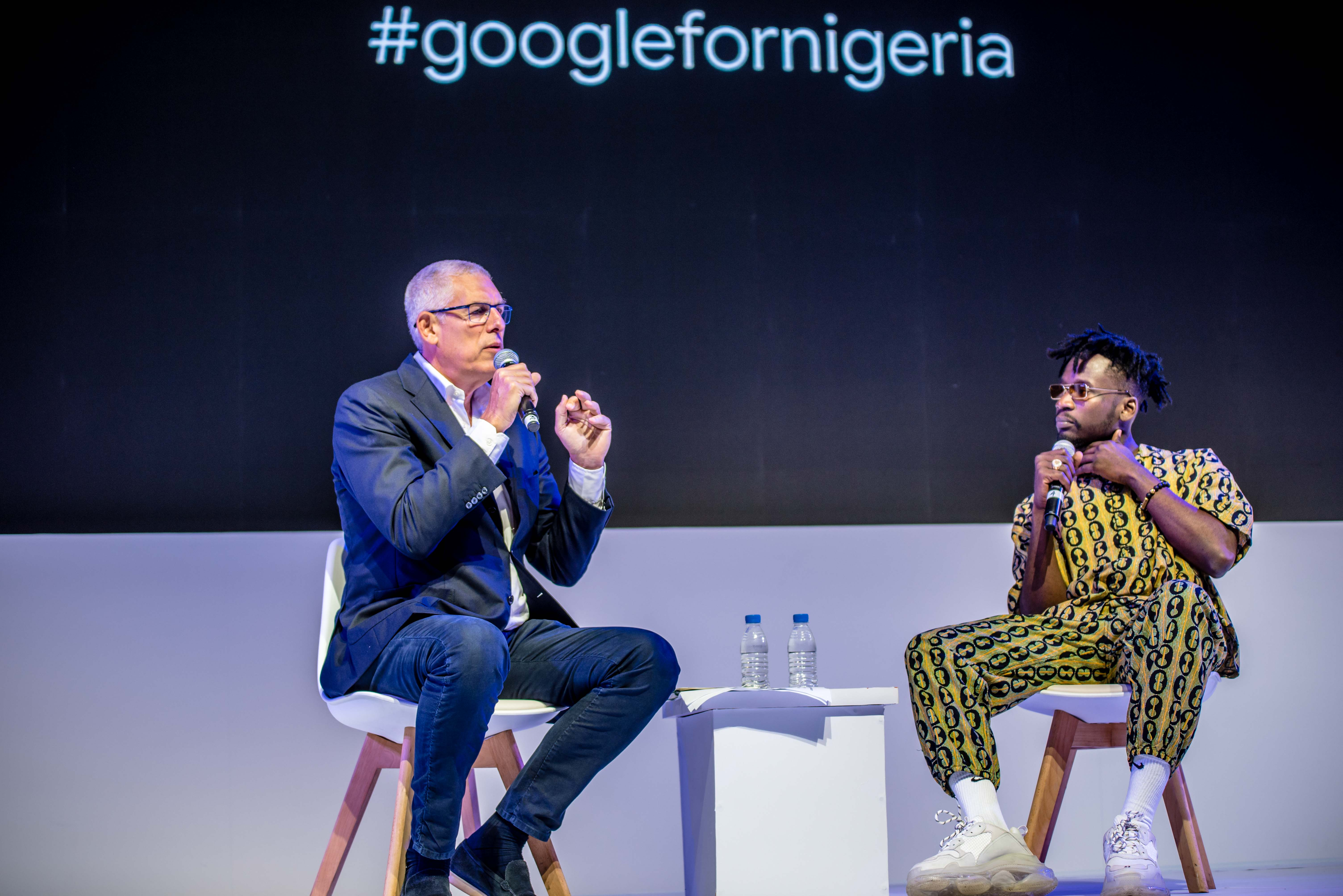 Lyor Cohen, global head of music at Google and YouTube, and Mr. Eazi.