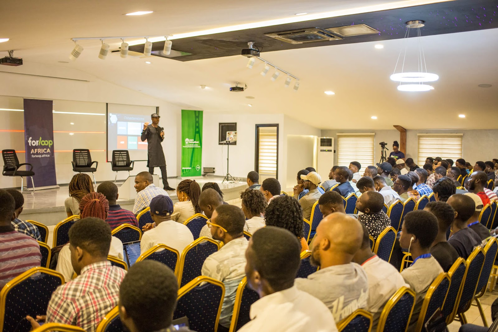 ForLoop Africa Board Member Chris Nwamba at a ForLoop Africa event. (Photo: Benjamin Dada)