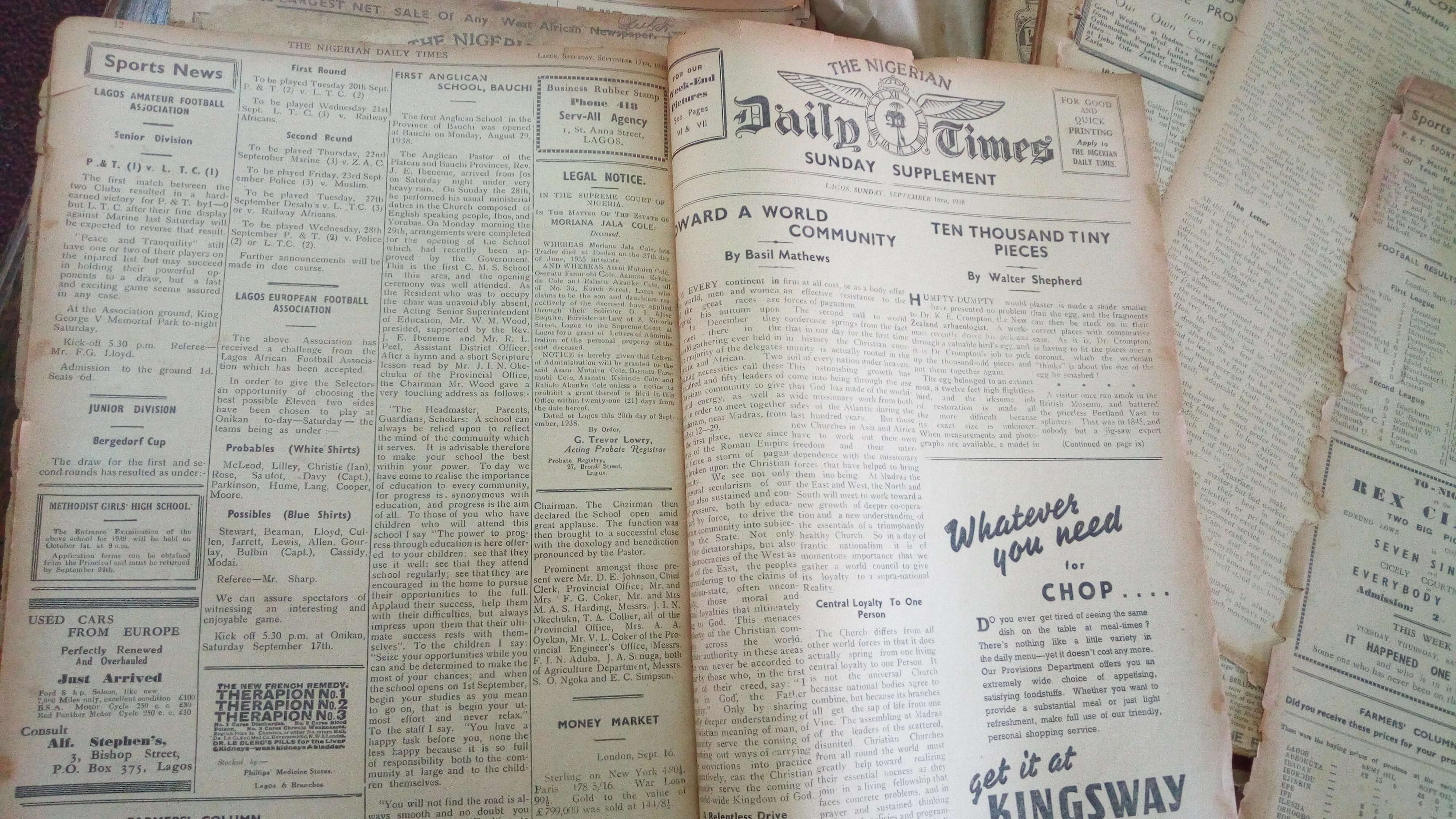 The Nigerian Daily Times of September 18th, 1938