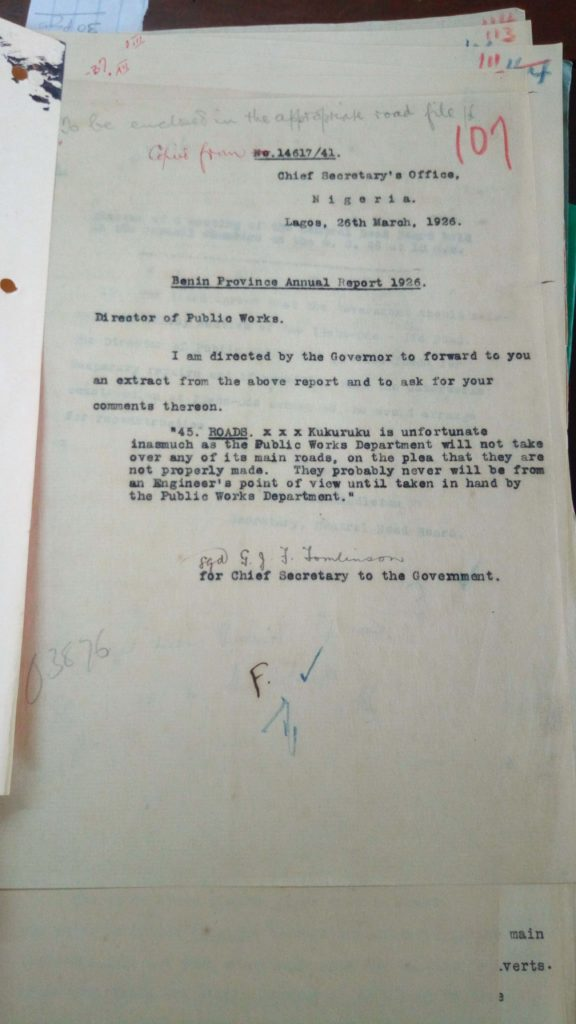 Correspondence of the Colonial Administration in Lagos from 1926