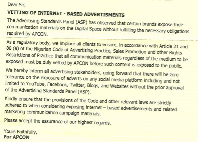 Nigeria's advertising regulator, APCON, wants to regulate online adverts