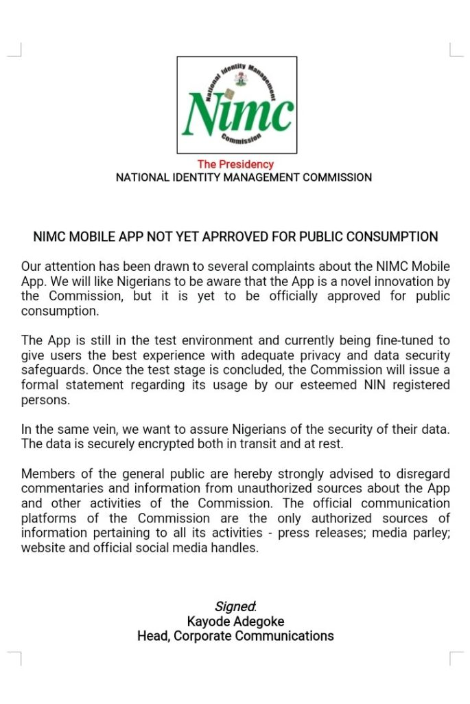 NIMC's press statement after pulling the National ID Card app off App stores