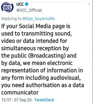 The Uganda Communications Commission has now deleted this tweet