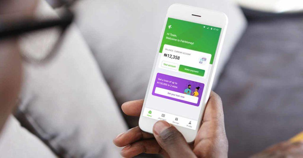 fairmoney mobile app dashboard on an iphone