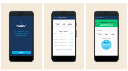 branch mobile app dashboard mock up