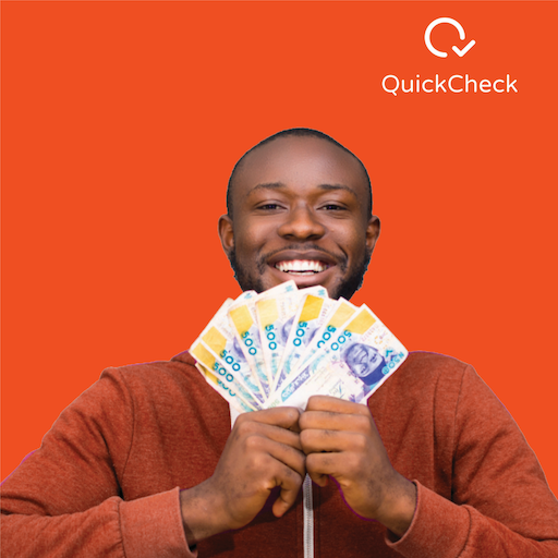 smiling young man with a fan spread wad of 500 naira notes