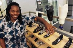 Sierra Leone's Chief Innovation Officer, David Moinina Sengeh, working on his protheses research project. Image source: MIT News