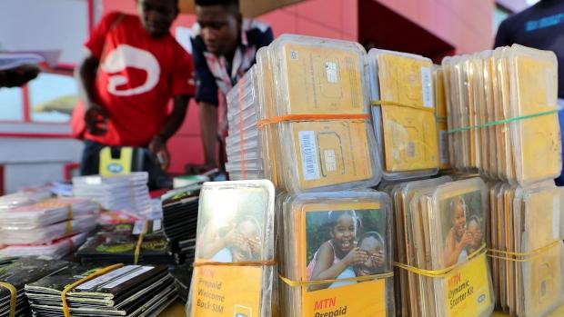 MTN and Airtel SIM card retailer. Image source: Bloomberg