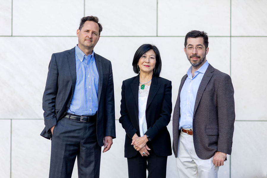 The new K. Lisa Yang Center for Bionics at MIT, made possible by a US$24 million gift from philanthropist Lisa Yang (center), will be led by Hugh Herr, professor of media arts and sciences at the MIT Media Lab (left) and Ed Boyden, the Y. Eva Tan Professor in Neurotechnology at MIT (right).