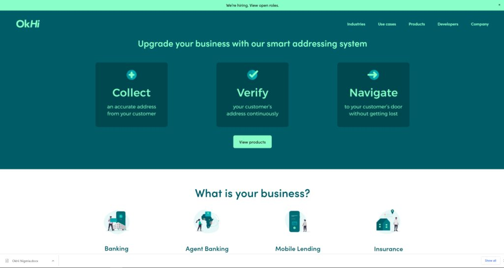 A screenshot of OkHi website. Image credit: TechCabal.